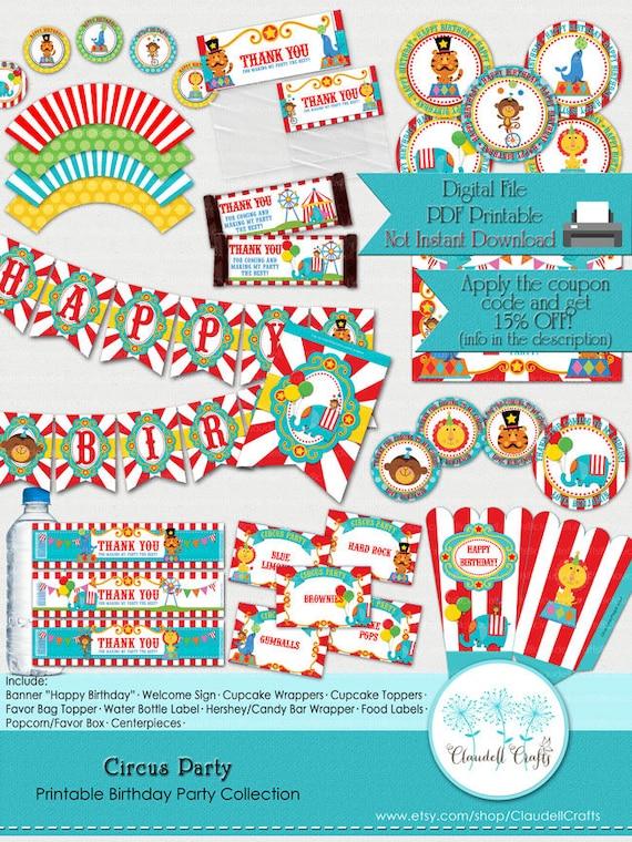 picture regarding Circus Circus Coupons Printable titled Circus Celebration Impressed Printable Celebration Selection Bundle
