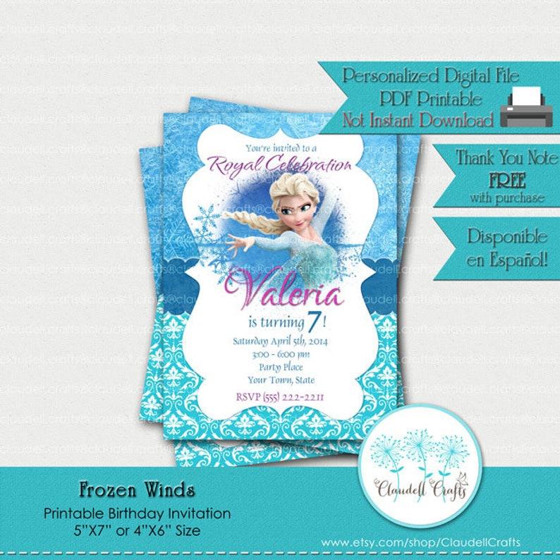 Frozen Winds Inspired Printable Birthday Invitation Card Invitación Frozen