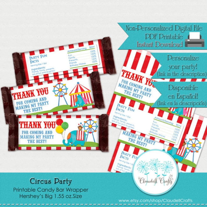 photo about Printable Hershey Bar Wrappers identify Circus Occasion Influenced Printable Sweet Bar Wrappers (Hershey Large)
