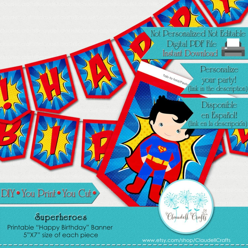 Superheroes Inspired Birthday Party Printable image 0