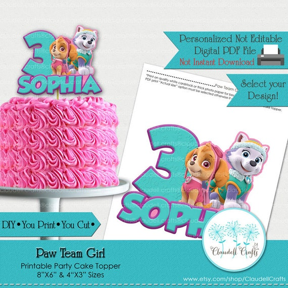 Prime Paw Team Girl Inspired Printable Cake Topper Centerpiece Download Free Architecture Designs Scobabritishbridgeorg