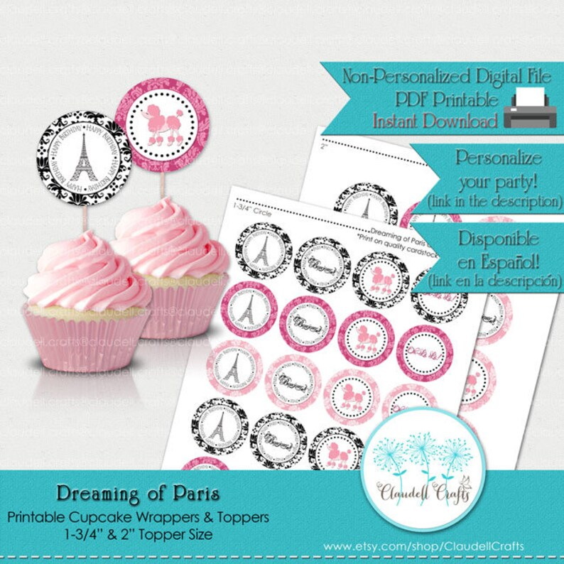 picture regarding Printable Cupcake Wrappers identify Dreaming of Paris Printable Cupcake Wrappers and Toppers
