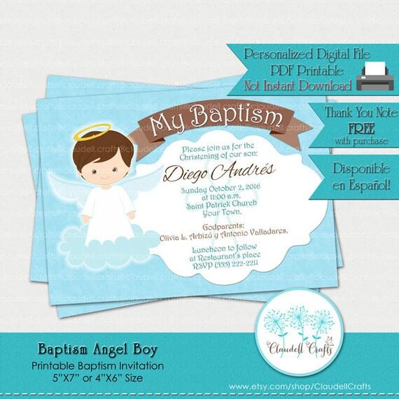 invitación para imprimir de bautismo angel boy tarjeta etsy