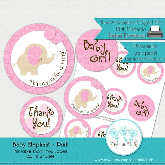 photo relating to Printable Thank You Labels known as Child Elephant - Gentle Purple Printable Thank By yourself Labels / Tags