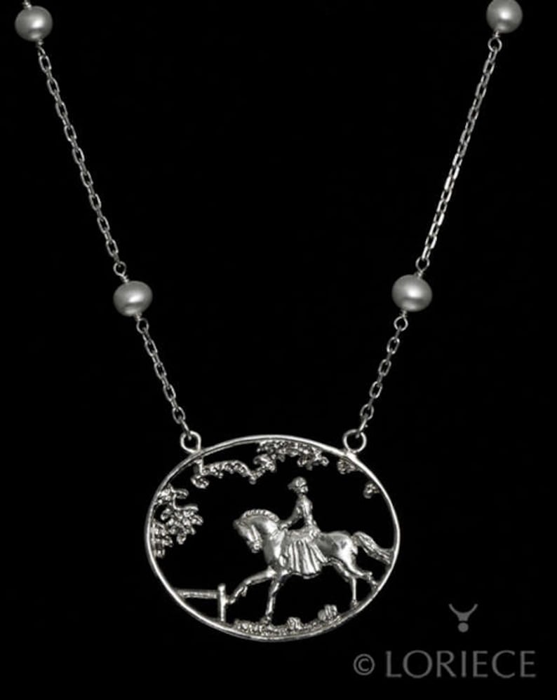 horse jewelry equestrian jewelry horse necklace equestrian pendant Equestrian Horse Ride In The Park Necklace equestrian necklace