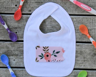 Pennsylvania Baby Bib - Baby Shower Gift - ANY State Available Upon Request + More Fabric Options!