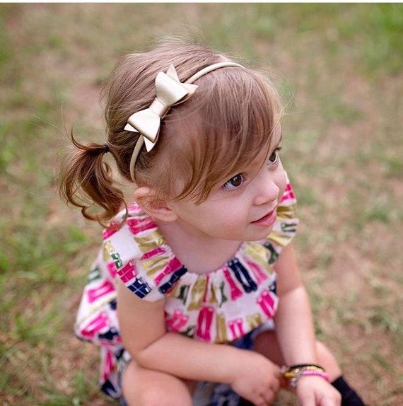 Matching Headband Genuine Leather Bow Headband Newborn Headband Bow Headband Leather Headband Toddler Headband Gold Baby Headband