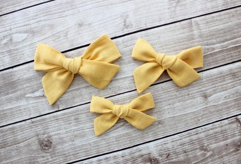 Baby Girl Headband Spring Baby Headband Spring Baby Bow Yellow Hair Clip Linen Bow Headband Yellow Hair Bow Buttercup Linen Hair Bow