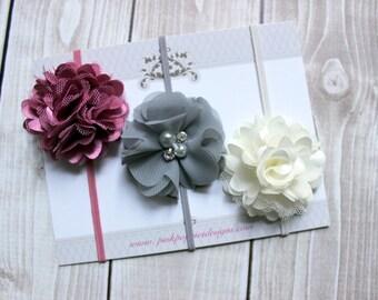 Headband Set, Baby Headbands, Dusty rose headband, Gray headband, Ivory headband, Baby Headbands, Baby Photo Prop