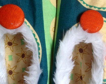 Vintage cotton fabric traditional Japanese slippers/flight shoes