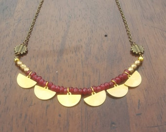 Brass Necklace, Tribal Necklace, Afrocentric Jewelry, Geometric Necklace, Gift For Her, Bib Necklace, Tribal Jewelry, Bohemian Jewelry, Boho