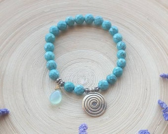 Turquoise Bracelet, Gemstone Bracelet, Chalcedony Bracelet, Beaded Bracelet, Turquoise Jewelry, Blue Stone Bracelet, Bohemian Bracelet, Gift