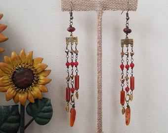 Cascade Earrings, Red Agate Earrings, Raw Brass Earrings, Long Earrings, Gemstone Earrings, Bohemian Earrings, Geometric Earrings, Boho