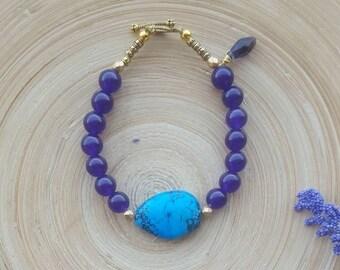 Amethyst Bracelet, Turquoise Bracelet, Amethyst Jewelry, Turquoise Jewelry, Purple Bracelet, Beaded Bracelet, Gift For Her, Boho Bracelet