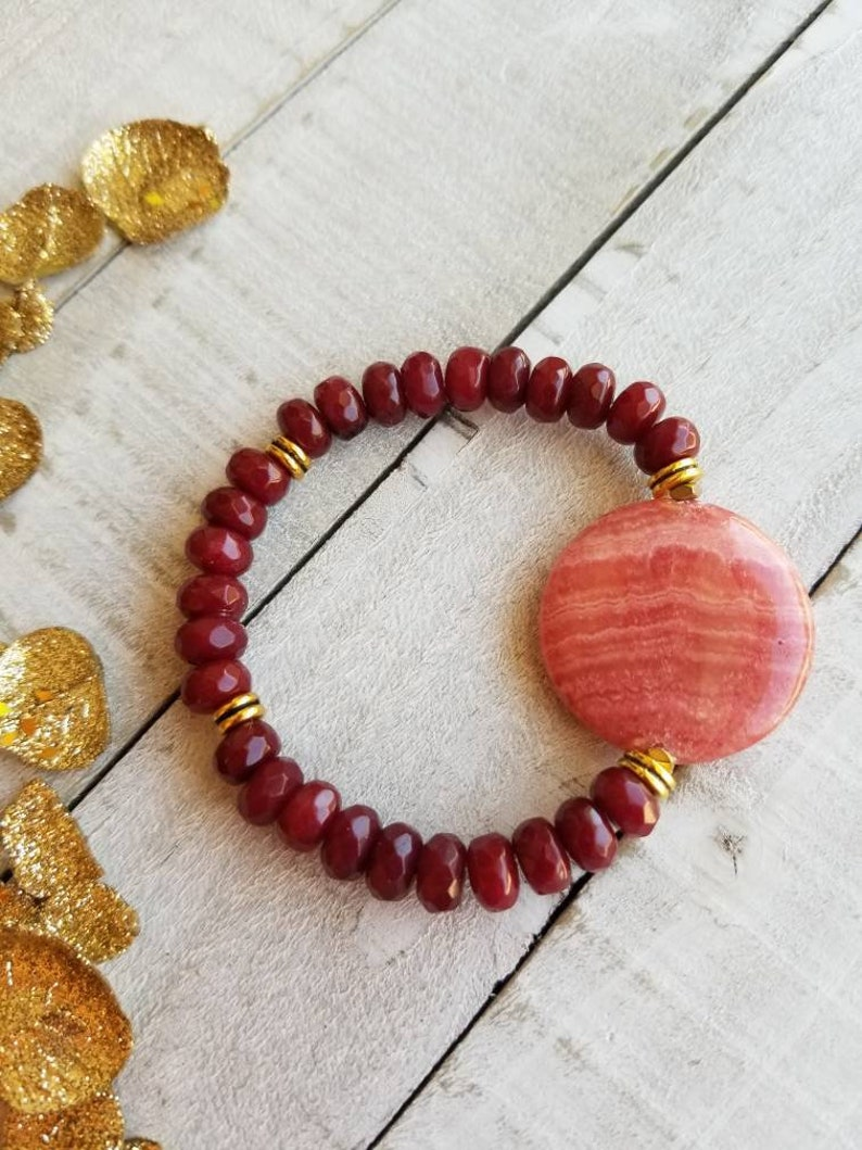 Beaded Dyed Red Ruby Pink Gemstone Bohemian Chic Stretch Stacking Statement Bracelet Gift