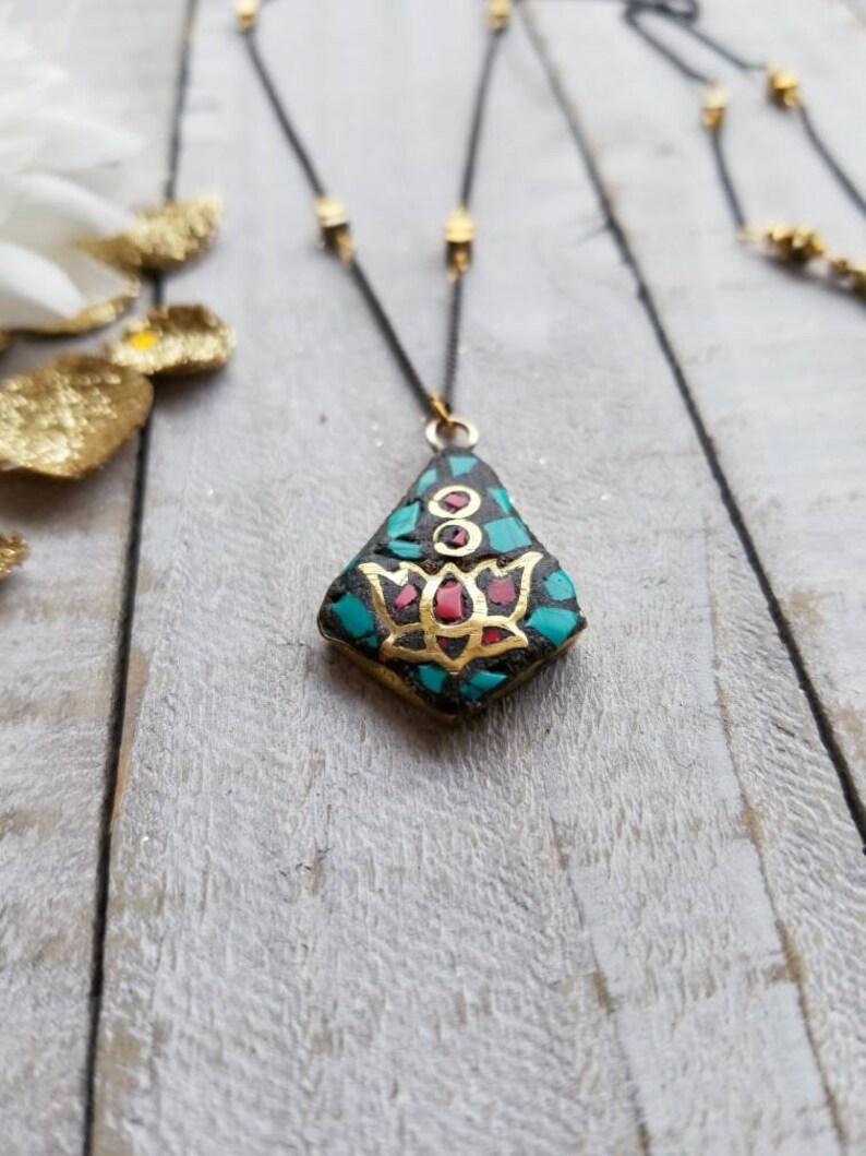 Delicate Mixed Metal Turquoise Coral Inlay Lotus Pendant Bohemian Yogi Layering Necklace Gift