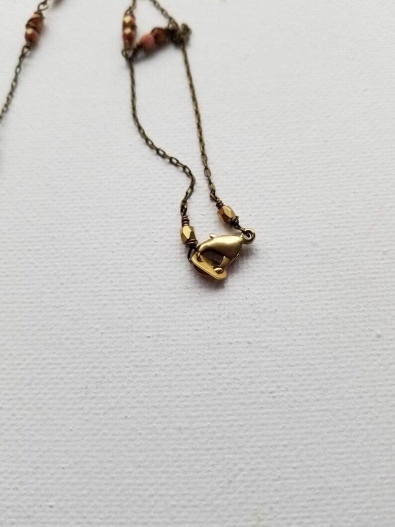 Dainty Boho Rose Quartz Pendant Necklace,