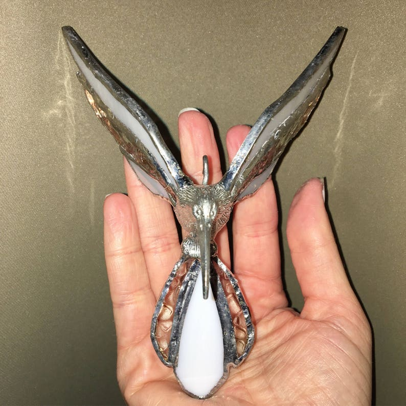 Stained Glass Hummingbird White /&  Textured Clear