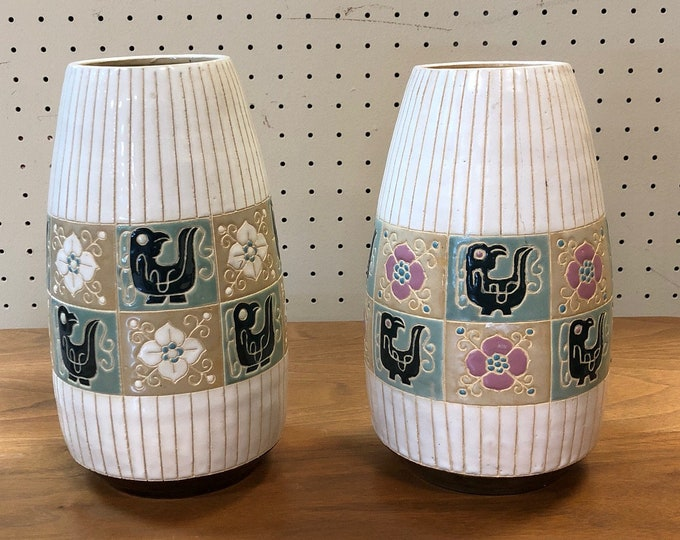 Pair of Mid Century Modern Pastel Bird & Flower Stoneware Vases