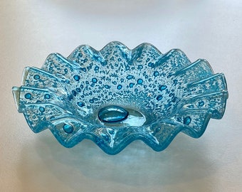 Blue Art Glass Ruffled Edge Bubble Bowl