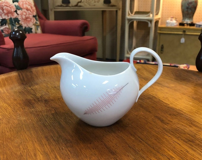Mid Century Modern Rosenthal Thomas Germany Fine China Creamer with Dual Sided Feather Decoration