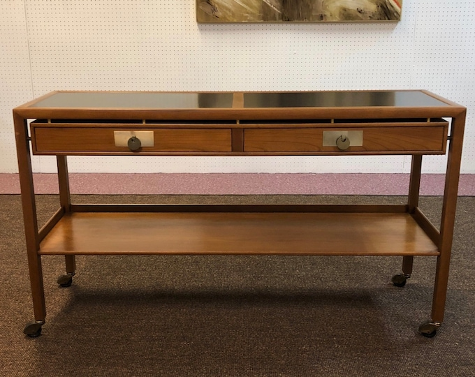 Baker Furniture Mid Century Modern Rolling Bar Cart / Server / Console Table