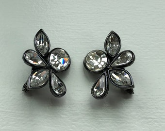Pair of Designer Yves Saint Laurent Clear Crystal Glass and Dark Pewter Color Metal Clip-On Earrings