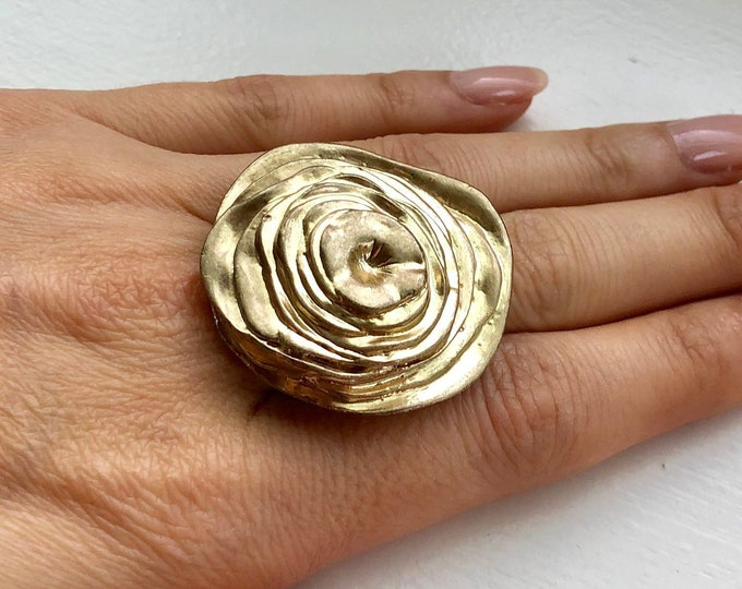 Mid Century Modernist Abstract Rose / Flower Statement Ring