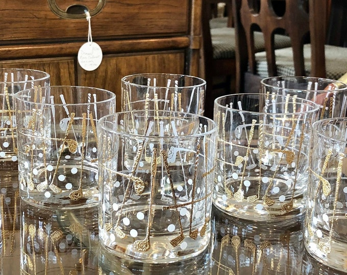 Set of 8 Mid Century Modern Georges Briard Golf Themed Lowball Rocks / Old Fashion / Whiskey Glasses
