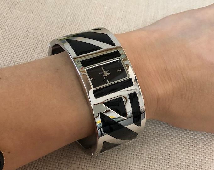 Anne Klein Cuff Bracelet Watch with Enameled Geometric Designs