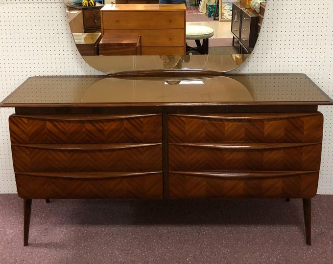 1950s Italian Mid Century Modern Mirrored Commode / Entry Table / Double Dresser