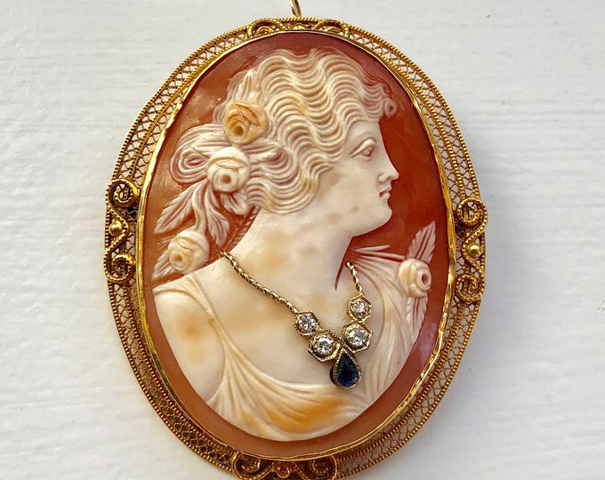 14K Yellow Gold Carved Shell Diamond and Sapphire Habille Cameo Converter Brooch Pendant