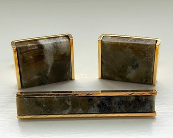 Vintage Green Jasper Cufflinks and Tie Clip Set