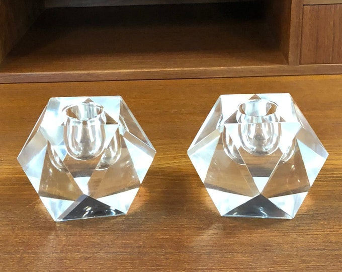 Smaller Pair of Chic Faceted Crystal Glass Candle Holders