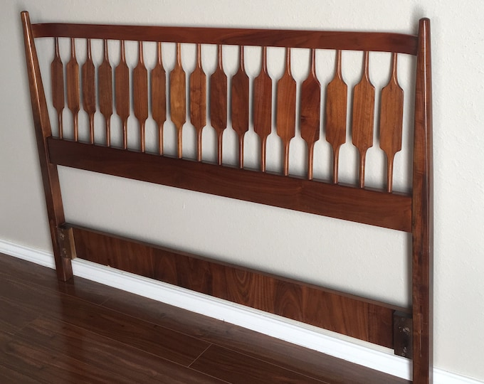 Mid-Century Modernist Drexel Declaration  Full Size Walnut Headboard