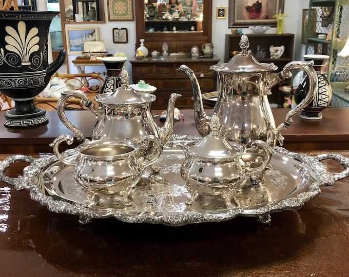 5-Piece Silverplate Coffee & Tea Service Set with Tray, Including Coffee Pot, Tea Pot, Creamer and Sugar, by Poole Silver