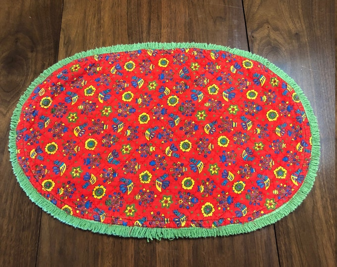 Set of Six Vintage Handmade Red and Green Farmhouse Style Placemats, Bird and Floral Motif