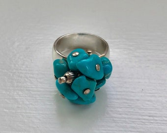 Mid Century Sterling Silver and Turquoise Cluster Ring