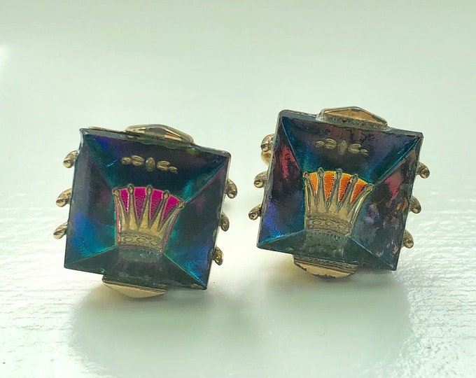 Pair of Mid-Century Glass Aurora Borealis Crown Cufflinks by Swank