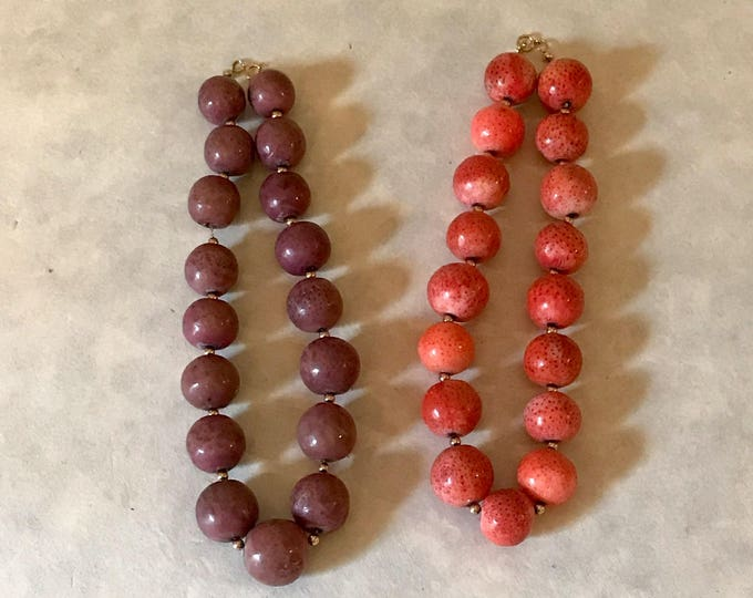 Vintage Pair of Stabilized Coral Bead Necklaces, 14K Yellow Gold Closures