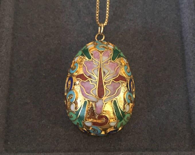 """SOLD-OUT Vintage Italian Cloisonné Egg Pendant Neclace, Floral Design, Long 30"""" Gold Chain"""
