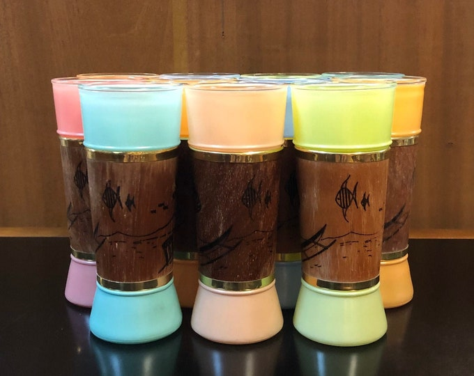 Set of 11 Mid Century Modern Siesta Ware Cooler Tumblers in Summery Pastels with Beachy Themed Wood Jackets, Hawaiian, Tiki, Tropical