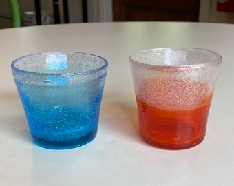 Choice of Art Glass Candle Holders / Glasses in Blue or Orange Glass, Ombré Bubbles Design