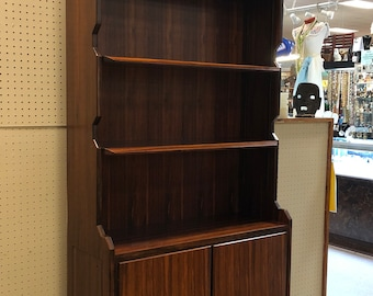Italian Mid Century Modern Tall Rosewood Finish Bookcase with Locking Cabinet, Designed by Vittorio Dassi