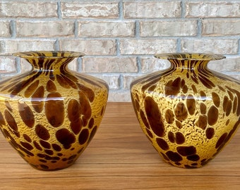 Italian Murano Art Glass Vases Tortoise Shell or Cheetah / Leopard Color