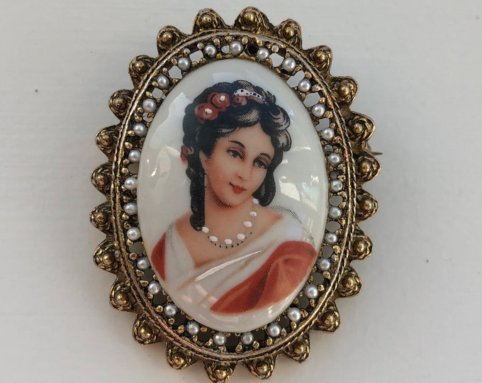 Porcelain and Enamel French Limoges Cameo Converter Brooch with Seed Pearls
