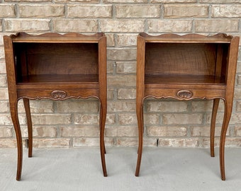 Pair of Antique French Louis XV Style Nightstands with Heart Cut-Out Details