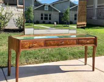 Italian Mid Century Modern Mirrored Low Console /  Entry Table / Hall Table / Dressing Table