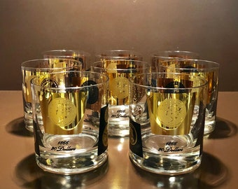 Set of Eight Mid Century Modern 22K Gold Leaf Coin Low Ball Flat Tumbler Glasses by Cera