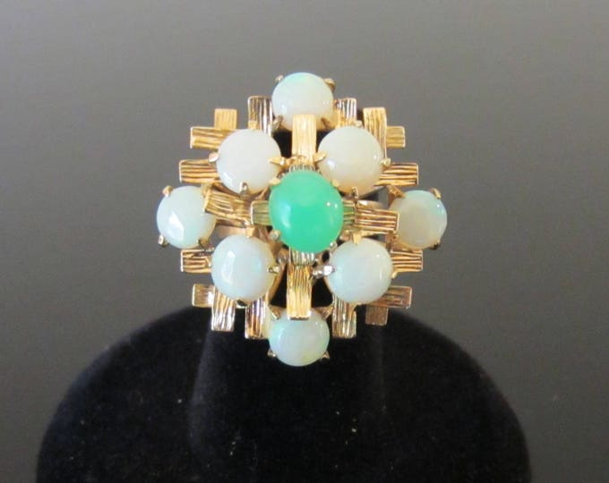 1960s Mid-Century Modernist 10K Yellow Gold Chrysoprase and Opal Statement Ring